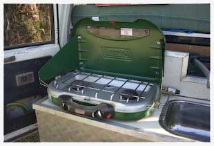camping stove built into 4wd
