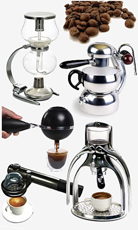 A variety of coffee makers..