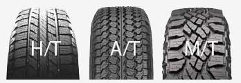 three different styles of 4wd tyre