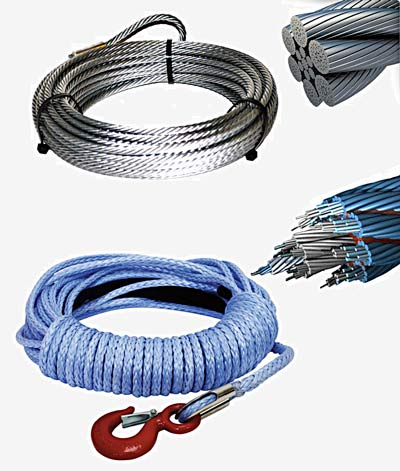 Synthetic and steel winch ropes.