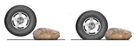 illustration deflated tyre over rocks