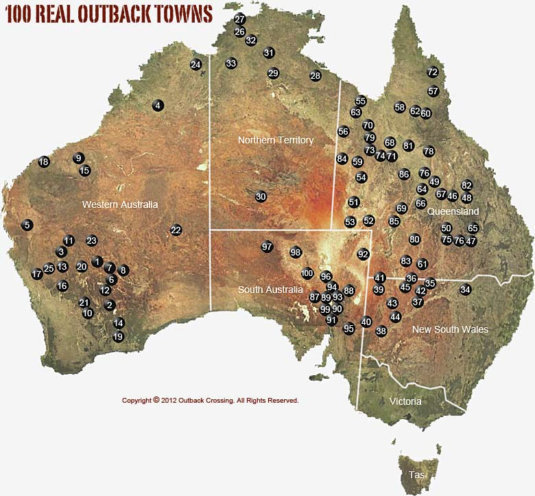 Where Is The Outback In Australia On A Map.100 Real Outback Towns